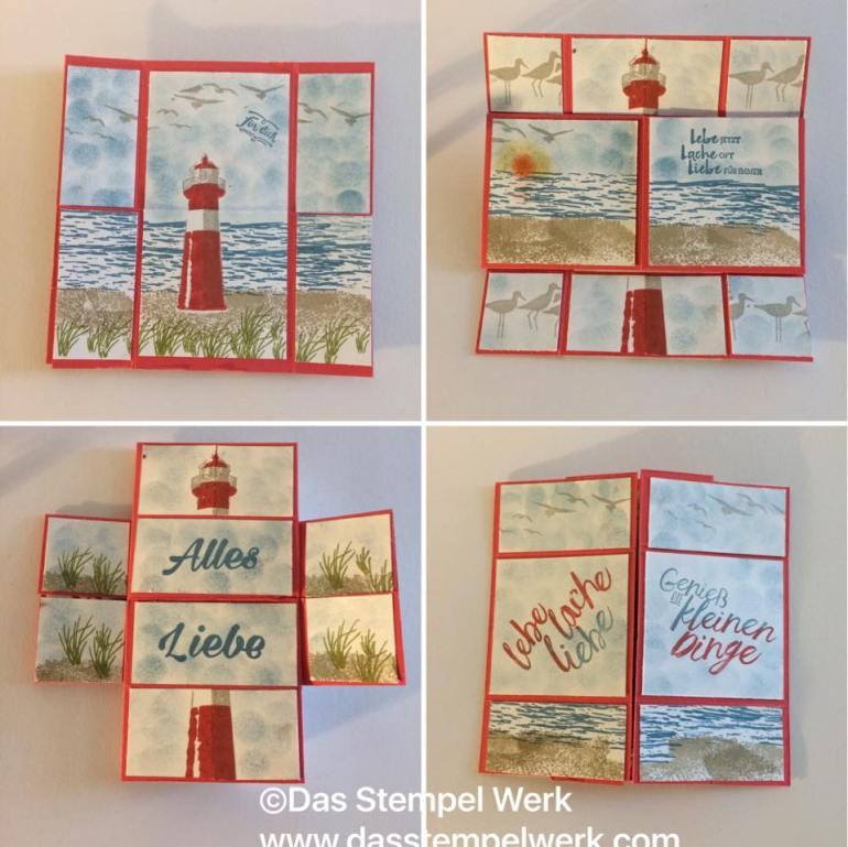 unendliche Karte, stampin Up, durch die gezeiten, maritim, geburtstagskarte