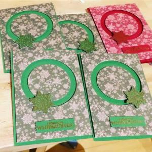 Weihnachtskarten, Spinnercard, Stampin up, Flockenzauber
