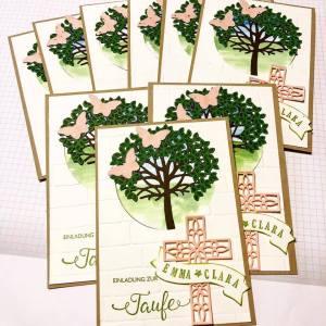 Taufe, Einladung, Stampin Up, Baum, Kreuz, Baby, Rosa
